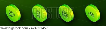 Set Isometric Line Helicopter, Train And Railway, Car And Taxi Car Icon. Vector