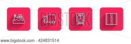 Set Line Cargo Ship With Boxes, Delivery Cargo Truck, Train And Railway And Road With Long Shadow. R