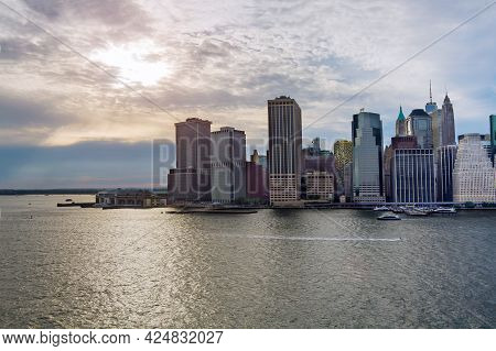 Aerial Panoramic View Of Lower Manhattan With Water Taxi Boat Whitehall South Ferry Terminal, New Yo