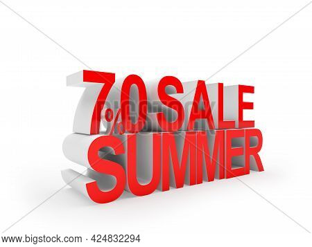 Seventy Percent Discount Summer Sale Text On White. 3d Illustration