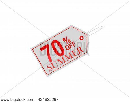 Price Tag With Seventy Percent Summer Discount On White. 3d Illustration