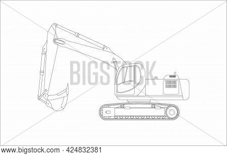 Vector Sketch Of Goose Excavator Isolated On White Background. Vector Flat Illustration