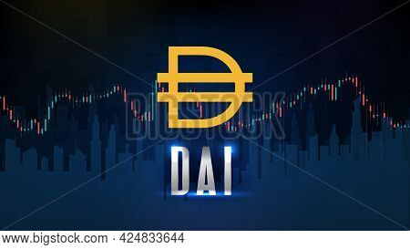 Abstract Futuristic Technology Background Of Cryptocurrency Dai Stable Coin And Chart Graph Candle S