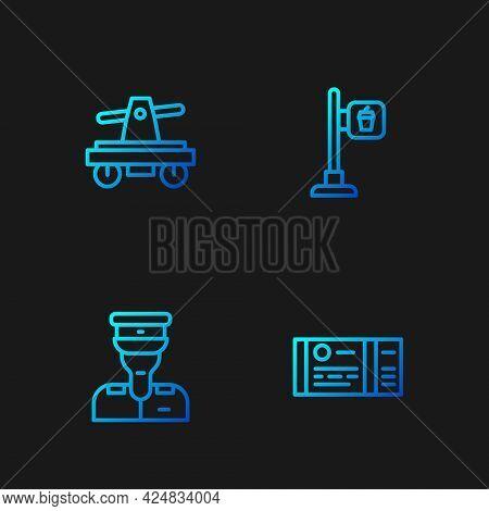 Set Line Train Ticket, Conductor, Draisine Handcar And Cafe Restaurant Location. Gradient Color Icon