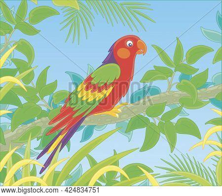 Exotic Colorful Parrot With A Long-tail And Brightly Colored Plumage, Perched On A Green Tree Branch