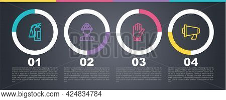 Set Line Fire Extinguisher, Firefighter, Gloves And Megaphone. Business Infographic Template. Vector