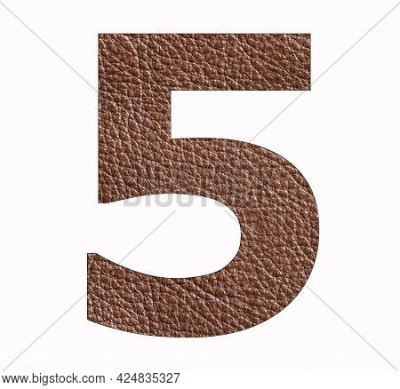 Number Five (5) - Brown Leather Texture Background