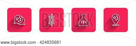 Set Line China Flag, Chinese Paper Lantern, Dumpling And With Long Shadow. Red Square Button. Vector