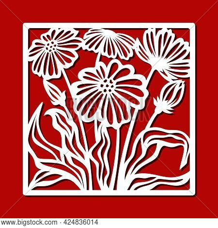 Square Frame With A Bouquet Of Flowers. Frame With Buds, Leaves, Stems. The Theme Of Nature, Plants.