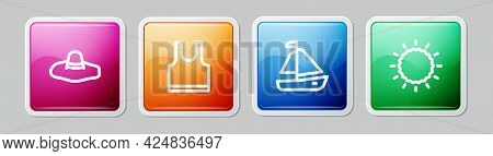Set Line Elegant Women Hat, Sleeveless T-shirt, Yacht Sailboat And Sun. Colorful Square Button. Vect
