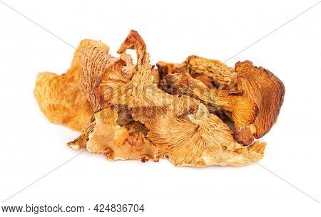 Dried Chanterelle Mushrooms, Isolated On White Background. Dried Forest Chanterelle Mushrooms. Canth