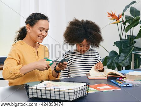 Autism. Care Of Girl Child Mental Health With A Child Psychologist Using Art Psychotherapy Session