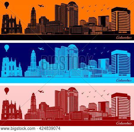Vector City Skyline Silhouette - Illustration,  Town In Orange Background,  Columbus, Ohio