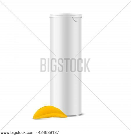 Vector 3d Realistic Blank White Metal Tin Can, Canned Food, Potato Chips Packaging With Lid, Realist