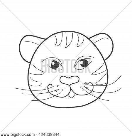 Cute Sly Tiger In Doodle Style On A White Background. Vector Illustration For Coloring Books, Prints