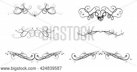 Grape Ivy Pattern Elements For Ornament Constructor Design. Sketch Doodle Style Image