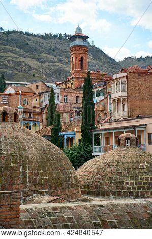 Popular City Landmark In Tbilisi. Ancient Underground Complex Of Sulfur Baths. Tbilisi, Georgia - 03