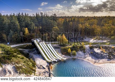 Freestyle Skiing Training Facility With Water Landing In The Netherlands.