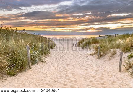 Landscape View Of Sand Dune On The North Sea Coast At Sunset Near Wijk Aan Zee, Noord Holland Provin