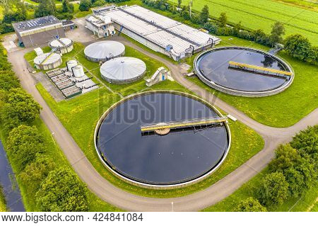 Water Treatment Plant For Sewage Waste Water Purification Seen From Above, The Netherlands.