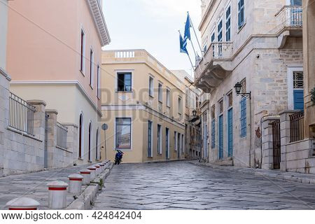 Neoclassical Buildings At Capital Of Syros Island, Hermoupolis, Cyclades, Greece.