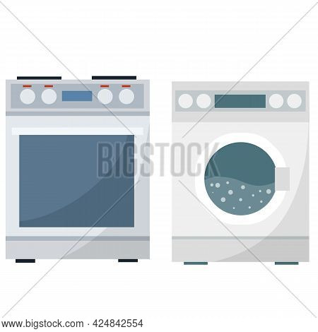 Washing Machine And Oven. Set Of Kitchen Home Appliances. Apartment And Bath Element. Appliance For