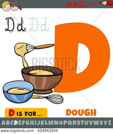 Educational Cartoon Illustration Of Letter D From Alphabet With Dough Word