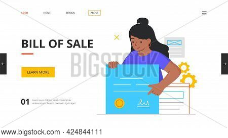 Bill Of Sale Concept With Young Female Character Holding Signed Contract. Licensing Contract, Dealer