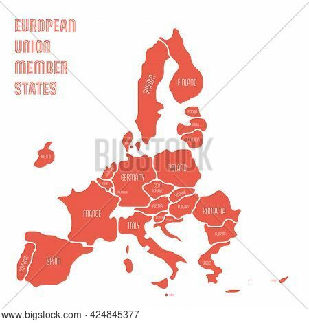 Simplified Map Of Eu, European Union. Rounded Shapes Of States With Smoothed Border. Red Simple Flat
