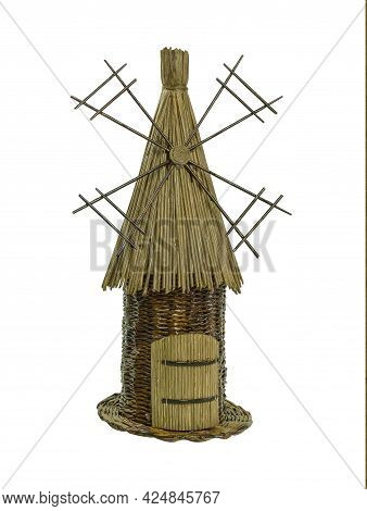 Straw Mill On An Isolated White Background. Old Windmill, Mill As Background With Space For Text