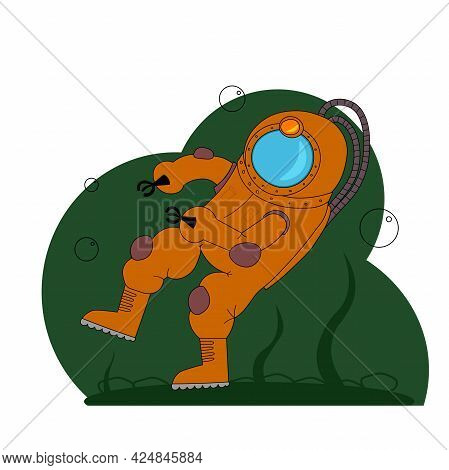 Deep Sea Diver In Orange Spacesuit In Cartoon Style. Vector Hand Drawn Illustrations For Websites, B