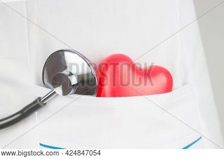 Stethoscope And Red Heart On Heart Check. Concept Healthcare. Disease Diagnosis Medicine, Healthcare