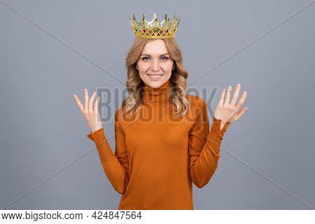 Arrogant Princess In Tiara. Proud Woman Smiling. Egoistic Girl In Diadem. Arrogance And Selfishness
