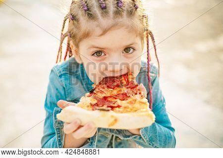 Kid Eat Pizza. Child Eating Pizza. Fastfood For Kids. Italian Junkfood. Children Favorite Food.