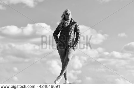 People Freedom Style. Winter Warm Clothing. Girl Wearing Casual Jeans Clothes. Enjoys Sunny Day And