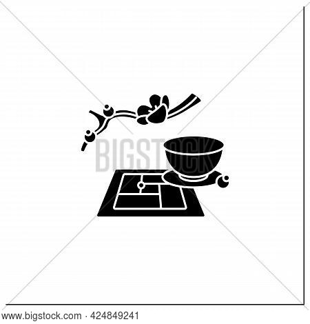Tatami Mat Glyph Icon. Flooring Material In Traditional Japanese Style Rooms. Japanese Ethnic And Na