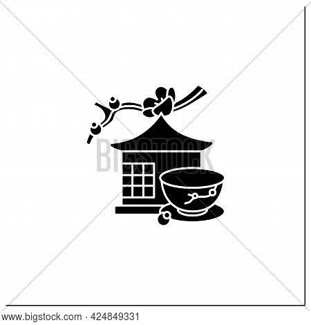 Tea Room Glyph Icon. Special Place For Tea Ritual. Japanese Ethnic And National Ceremony.unique Hand