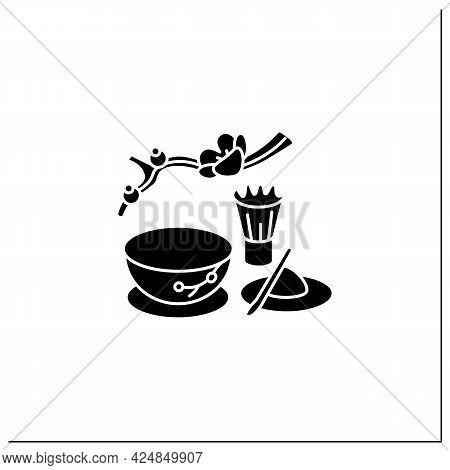 Matcha Glyph Icon. Unique Tea Ceremony. Matcha Tea Powder Near Teacup. Japanese Ethnic And National