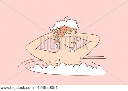 Hair Care And Hygiene Concept. Young Smiling Woman Cartoon Character Washing Hair In Bathroom With S