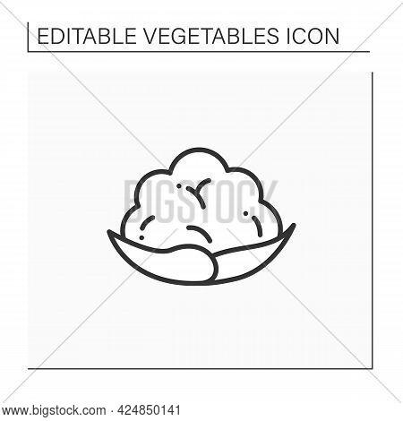 Cauliflower Line Icon. Edible Vegetable.dietary Food. Vegetarian, Healthy Nutrition. Health Benefits