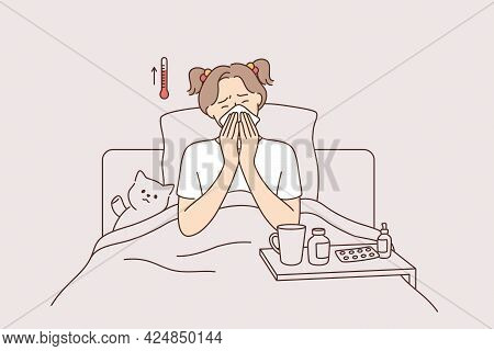 Fever, Illness And Feeling Ill Concept. Little Girl Cartoon Character Sitting In Bed Feeling High Te