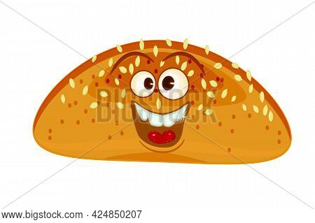 Bread Loaf Mascot. Isolated On White Background. Fun Bread. Bakery And Pastry Cartoon Label Personag