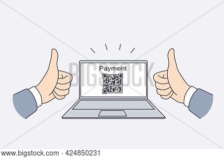 Electronic Payment With Qr Code Concept. Hands Of Man Showing Thumbs Up Sign With Electronic Payment