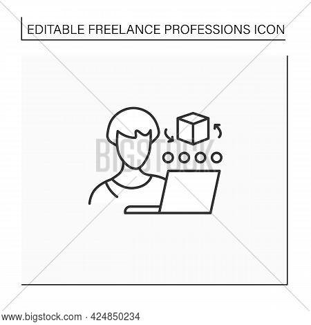 Cad Artist Line Icon. Computer Aided Designer. 3d Artist. Create, Analyse, Optimized Design. Distanc