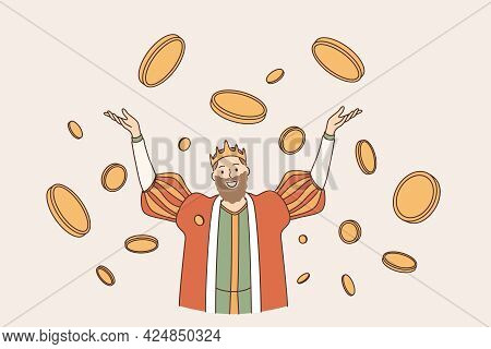 King Of Coins Wealth Concept. Young Smiling Man King In Crown Cartoon Character Standing With Hands