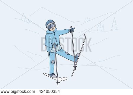 Winter Activities And Leisure Concept. Smiling Child Kid Cartoon Character In Sports Costume Standin