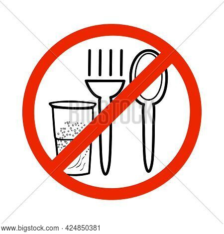 No Eating Sign Isolated On White Background. Not Allowed To Eat And Drink Icon. No Food Symbol. Fork