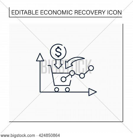 Growth Consumer Demand Line Icon. Consumers Willingness And Ability To Purchase. Profitable Buying.