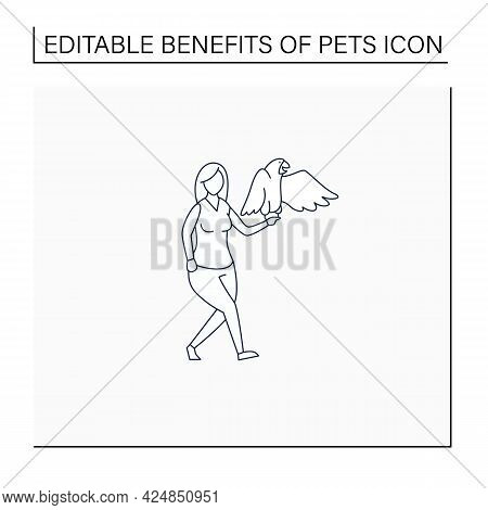 Pets Benefits Line Icon.woman Have Parrot. Communication. Reduce Stress Level. Companionship. Animal