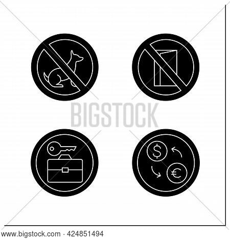 Public Place Signs Glyph Icons Set.no Dog, Entry. Baggage Locked, Exchange Currency. Universal Publi